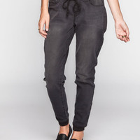 Full Tilt Womens Denim Jogger Pants Black  In Sizes
