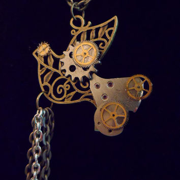Bird Necklace, Steampunk, Gears and Cogs, Recycled, Mixed Media, Vintage S15