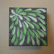 Painting Lime Green Acrylic Aboriginal Inspired 4 x 4 by Acires