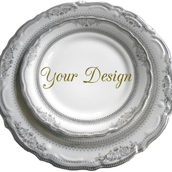 Customizable Plates, Silver/Platinum Dinnerware, Customizable Dishes, Personalized Plates, Personalized Dishes, Bespoke Plates Wedding