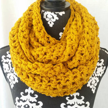 Infinity Scarf, Bohemian, Mustard Gold, Chunky Scarf, Vegan Friendly, Circle Scarf, Statement Piece, Cowl Scarf, Bulky Scarf, Fall Fashion