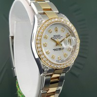 Ladies Rolex Datejust 179173 18k Yellow Gold Two-Tone Diamond Bezel Lugs + Dial