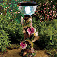 Decorative Hummingbird Solar Powered Lighted Lamppost Lawn Garden Outdoor Decor