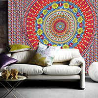 Traditional Multicolor Mandala Tapestry, Bohemian Hippie Gypsy Decorative Bed Decor, Indian Throw Beach Wall Hanging, Antique Boho Queen Curtain, Picnic Beach Sheet Art, Ethnic College Dorm Bedspread