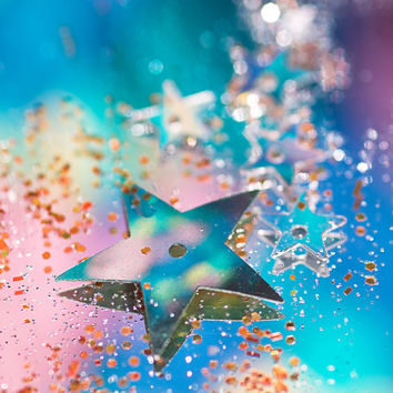 Star Shine | Colorful Bokeh Bright Pink Blue Glitter Sequin Star Magical Dreamy Zen Photography Decor Children Bedroom Home Bathroom