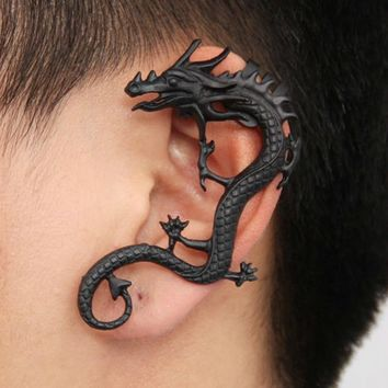 Hot Personality Gothic Punk Dragon Ear Cuff Vintage Silver Black Bronze Women Clip Earings No Pierced Pendientes 1PC