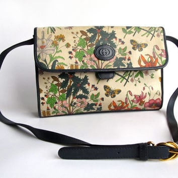 Vintage Gucci Flora Bag . 1980s Lovely Floral Print Cross Body Purse