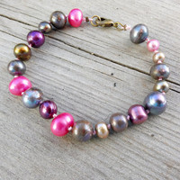 Irregular Pearl Bracelet, Colourful freshwater pearl jewellery, real pearl bracelet, knotted pearls