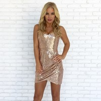 Hidden Gem Sequin Bodycon Dress in Rose Gold