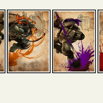 Teenage Mutant Ninja Turtles splatter art, TMNT art print set, Leonardo, Michaelangelo, Donatello, Raphael, awesome dark grungy style
