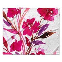"Ebi Emporium ""Pocket Full Of Posies 11"" Nature Pink Fleece Throw Blanket"