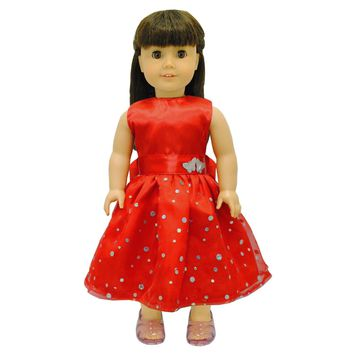 Doll Clothes Fits American Girl & Other 18 Inch Dolls Princess Red Dress
