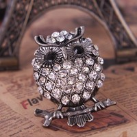 Vintage Silver Tone Full Rhinestone Encrusted Owl Animal Ring at Online Cheap Vintage Jewelry Store Gofavor