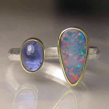 Boulder Opal and Tanzanite Ring - 18k Gold and Sterling Silver - Open Stone Ring - sz 6 - 6.25