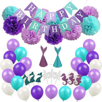 Mermaid Themed Suit Balloon Birthday Decoration Decorative Balloons Kit Birthday Under The Sea Party Supplies Baby Shower