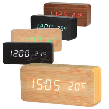 1Pc New Digital LED Wood Desk Alarm Clock Timer Thermometer Snooze Voice Control