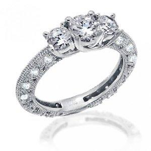 Bling Jewelry Vintage Pave Band CZ Sterling Silver Engagement Wedding Ring 1.25 carats: Jewelry: Amazon.com