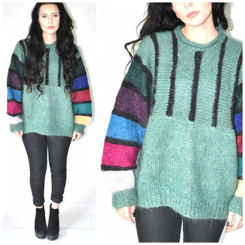 ABSTRACT wool sweater vintage 80s 90s KITSCH colorful slouchy GRUNGE pull over contrasting sleeve turtle neck jumper os