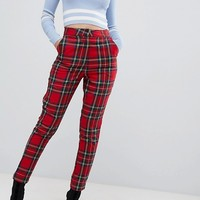 Missguided check high waist trouser in red check at asos.com