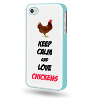 SudysAccessories Keep Calm And Love Chickens iPhone 4 Case iPhone 4S Case - Aqua Blue SoftShell Full Plastic Direct Printed Graphic Case