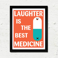 "Laughter is the Best Medicine :  8x10"" Typography Art Print (Yellow and White)"