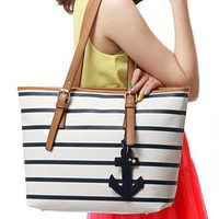 Latest Navy Style Strip Print Anchor Handbag from perfectmall