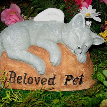 Cat Angel concrete beloved pet memorial. headstone, grave marker, cement, Yard and Garden Decor, Pets