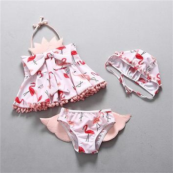 2 Two Piece Bikini Neploe 2018 Summer With Hat Children Bikini Set Print Animals Bathing Suit Girls Cute Wing Two Pieces Splited Swimwear 42181 KO_21_2