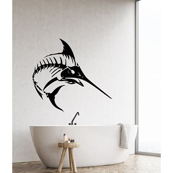 Vinyl Wall Decal Sea Fishing Fish Skeleton Bones Gothic Style For Fisherman Tuna Stickers (4261ig)