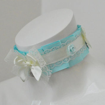 Kitten play collar - Mermaid Fairytale - ddlg little satin princess choker with big bow - kawaii cute fairy kei ivory and baby blue pleated
