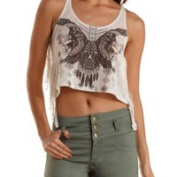 Oatmeal Eagle Graphic Rope Strap Crop Top by Charlotte Russe