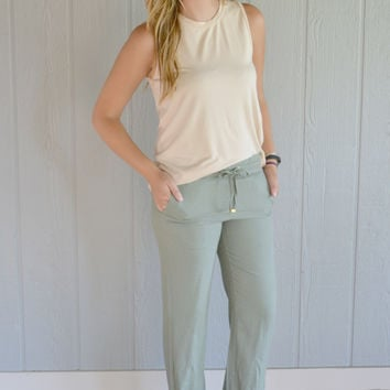 Work It Drawstring Pants: Olive