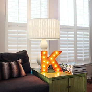 """12"""" Small Letter K Lighted Vintage Marquee Letters (Rustic)"""