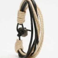 Rope and Leather Bracelet