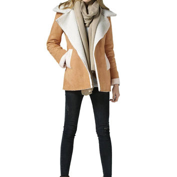 Brown Coat with Oversize Collar