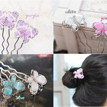 LMF78W Fashion Women Cute Crystal Butterfly Hairpin Hair Pin Accessories New