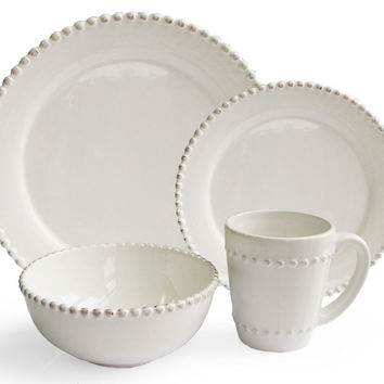 16-Pc Bianca Bead Round Dinnerware Set, Place Settings