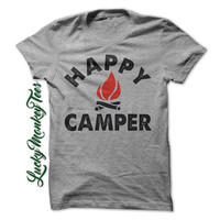 Happy Camper camping  Funny T-Shirt Tee.