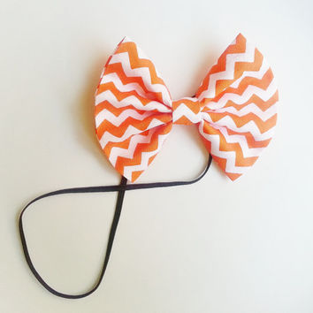 Orange Chevron Headband, Small Hairbow Headband, Toddler Headband, Baby Headband, Spring Headband