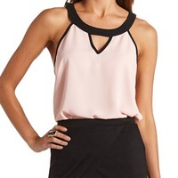 COLOR BLOCK CUT-OUT HALTER TOP