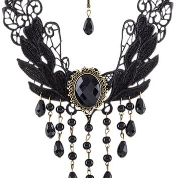 Gothic Victorian Midnight Dance Black Lace Fringe Beaded Statement Necklace