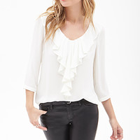 LOVE 21 Ruffled Blouse Cream