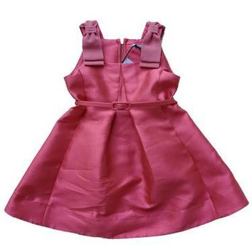 MiMiSol Satin Shantung Pale Raspberry Bow Shoulder Party Dress