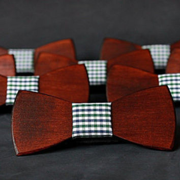 Beautiful red wood bow tie with checkered fabric. Wooden bow tie.
