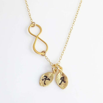 Personalized initial Infinity necklace -two initial charm- birthday, wedding, Mothers Day, friendship-Gold Filled necklace