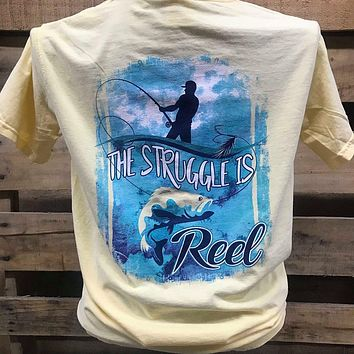 South Waters Comfort Colors The Struggle is Reel Fish Unisex Bright T Shirt