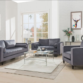 Acme 51070-71 2 pc Heather gray velvet sofa and love seat set
