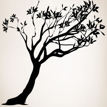 Vinyl Wall Decal Sticker Leaning Tree #AC153