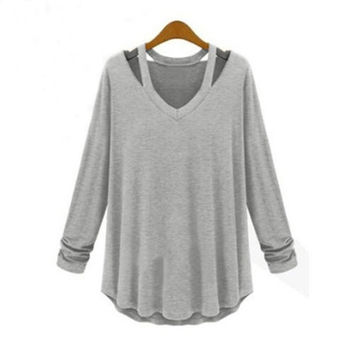New Women Casual Blouse Plus Size Top Fashion Loose Long Sleeve T Shirt Dress Tee 3 color with size S,M,L,XL,2XL,3XL,4XL
