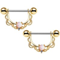 "14 Gauge 5/8"" White Synthetic Opal Gold Plated Scalloped Nipple Ring Set"